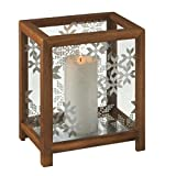 10'' Rustic Wooden Box Snowflake Pillar Candle Christmas Table Top Holder