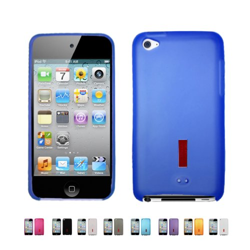 4 Color Gels (BLUE Apple iPod Touch 4 4G w/ Cameras ( iPod Touch 4G, iPod Touch 4th Generation) 16GB 32GB 64GB MATTE TPU Transparenet Silicone Gel Case Skin Cover + Free Screen)