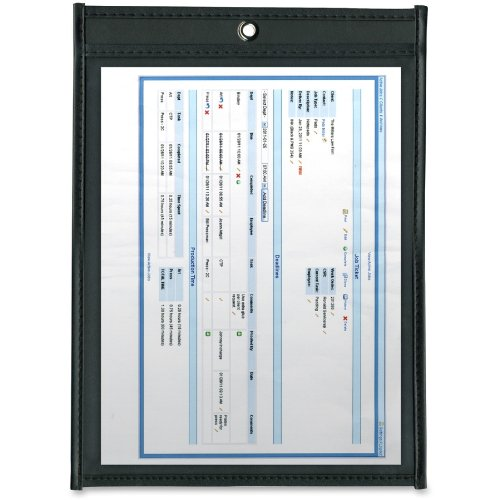 ADVANTUS Job Ticket Holders, 8.5 x 11 Inches, Clear Cover, Black Back, 25-Count (ANG1570)