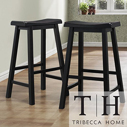 Metro Shop TRIBECCA HOME Salvador Saddle Back 29-inch Stool in Black Sand-Through (Set of 2