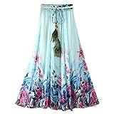 Women's Chiffon Skirt Printing High Waist Long Skirt Girls Midi Skirt for Ladies