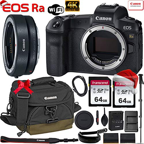 Canon EOS Ra Mirrorless Digital Camera 30.3MP Full-Frame (Body Only) with Canon EF-EOS R Mount Adapter + 2 x 64GB Memory Cards, Canon 100EG Case, Canon Wrist Strap, Monopod and More
