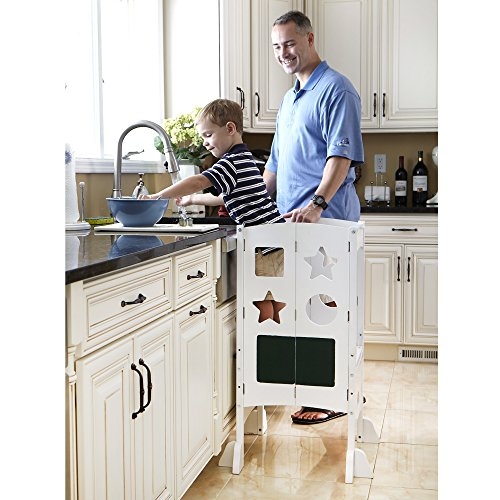 Guidecraft Classic Kitchen Helper - White: Folding, Adjustable Height Counter Safety Step Stool For Toddlers, W/Chalkboard and Whiteboard Message Boards, ...
