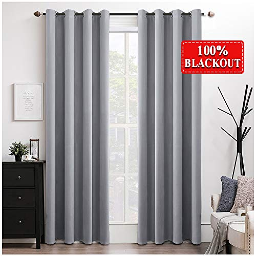 MIULEE 100% Blackout Curtains Thermal Insulated Solid Grommet Curtains/Drapes/Shades for Bedroom Living Room 2 Panels, 52