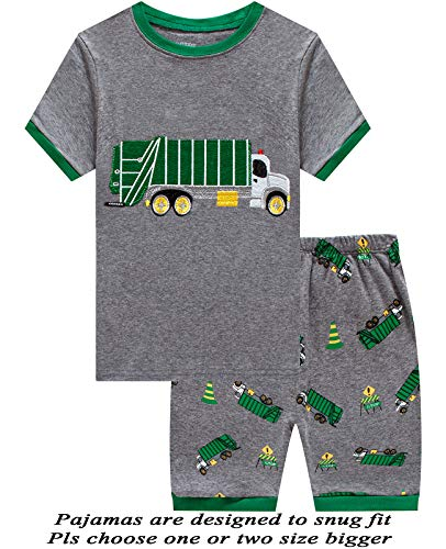 Price comparison product image Boys Pajamas Garbage Truck Short Toddler Clothes Kids Pjs Sleepwear Summer Shirts Size 3t