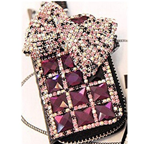EVTECH(TM) Universal Car Smart Key Chain Leather Holder Cover Case Fob Remote 3D Handmade Luxury Shining Glitter Crystal Diamond Rhinestones (100% Handcrafted) (Pattern-A2)