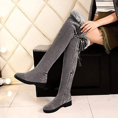 Cordones Botas Altas Bajo Yomo De La Redonda Rodilla Grey Cabeza Mujer Sobre Zapatos Botin dtwqRwTH