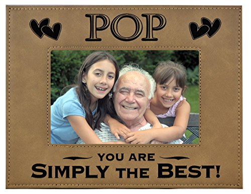 (GK Grand Personal-Touch Premium Creations POP GIFT ~ POP You Are SIMPLY THE BEST! Engraved Leatherette Picture Frame Grandfather Dad Birthday POP Daughter Son Grandchild Best POP Ever (5x7, Beige))