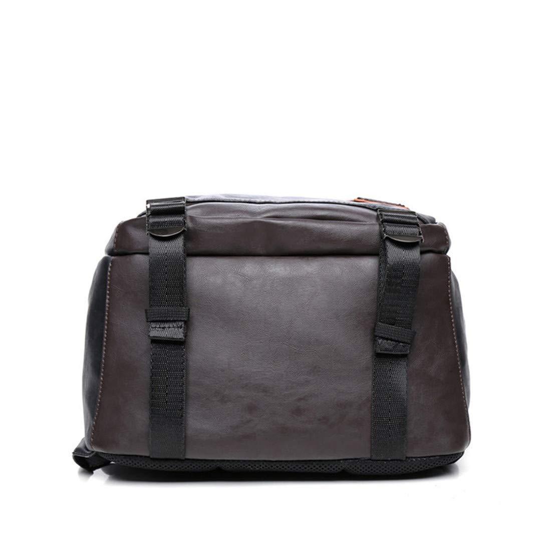 Color : Black, Size : One size Willsego Leather Men Laptop Backpack Fashion Large Capacity Travel Teenage Schoolbag Male Rucksack Kanken Black