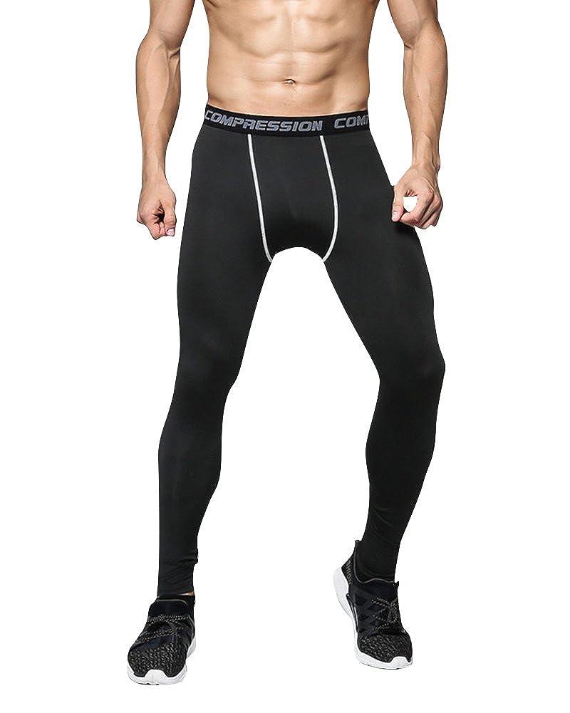 MISSMAO Uomo Pantaloni Sportivi a Compressione Leggings da Gym Running Allenamento Palestra