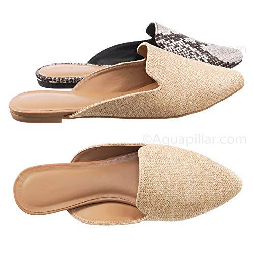 Natural Woven Straw - Aquapillar Slip On Mule Slippers - Women Flat Backless Pointed Toe Pump