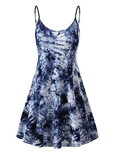 MSBASIC Tie Dye Dresses Adjustable Strappy Sundress for Women (Tie Dye-2,L)