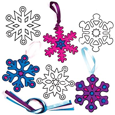 Baker Ross Snowflake Suncatcher (Pack of 8) Arts and Crafts for Kids to Decorate: Toys & Games
