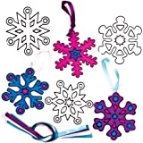 Snowflake Suncatcher Hanging Decorations for Children to Make Decorate and Hang on Xmas Tree (Pack of 8)