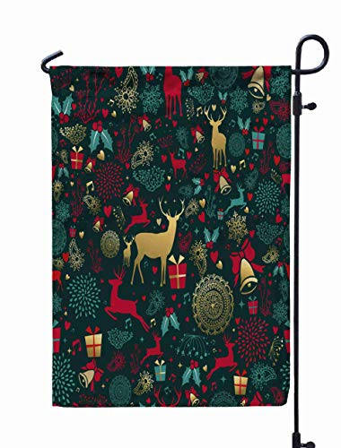 Shorping Garden Flag Stand, 12X18Inch Welcome Garden Flag Merry Christmas Pattern Gold Deer Vintage Decoration for Holiday and Seasonal Double-Sided Printing Yards Flags,Pink Green
