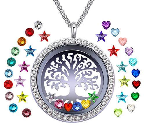 YOUFENG Floating Living Memory Locket Pendant Necklace Family Tree of Life Birthstone Necklaces (36 Birthstone Charms)
