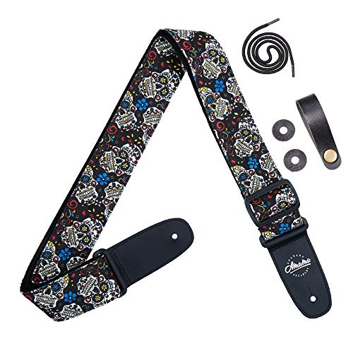 Amumu Sugar Skull Guitar Strap Black Denim for Acoustic, Electric and Bass Guitars with Strap Blocks & Headstock Strap Tie - 2
