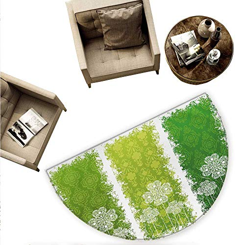 - Irish Semicircular Cushion Aged Vintage Antique Figures on Green Toned Color Bands Celtic Historic Lace Image Entry Door Mat H 70.8