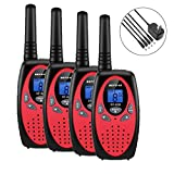 Walkie Talkies, 4 Pack Walkie Talkies Rechargeable, Befove 22CH Handheld FRS Transceiver Two Way Radios Long Range Walkie Talkie Kids for Kids Adults RED