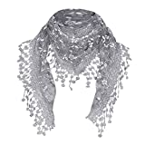 Anglewolf Women Lace Sheer Floral Scarf Shawl Wrap Tassel New Ladies Women's Colony Flamboyance of Solid Colour Travelling Touring Fringe Square Cotton Linen Stole Muffler Beach(Gray )