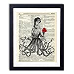 Victorian Octopus Lady Upcycled Vintage Dictionary Art Print 8x10 4