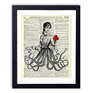 Victorian Octopus Lady Upcycled Vintage Dictionary Art Print 8×10