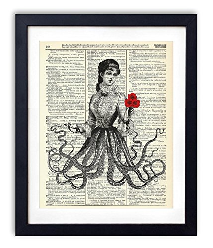 Victorian Octopus Lady Upcycled Vintage Dictionary Art Print 8x10 by Vintage Book Art Co.