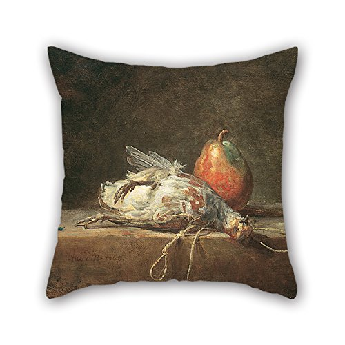 Alphadecor The Oil Painting Jean Siméon Chardin - Still Life With Partridge And Pear Pillow Cases Of ,16 X 16 Inches / 40 By 40 Cm Decoration,gift For Car Seat,indoor,bf,sofa,boy Friend,kids Girls (Red Valentino Lily)