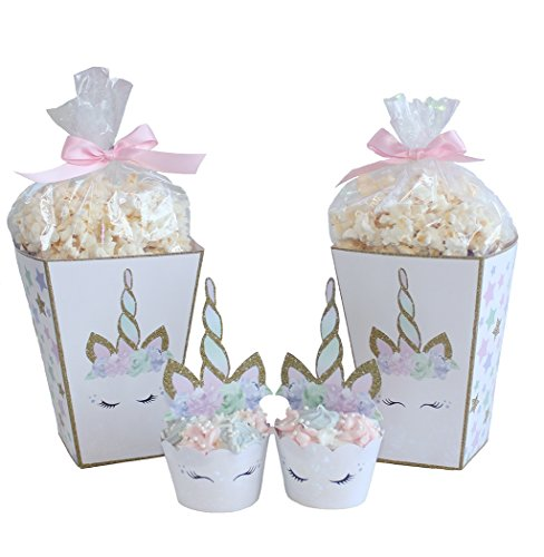 Unicorn Birthday Party Supplies Includes Cupcake Toppers + Wrappers and Popcorn Boxes - Premium Product Made in the USA - Serves 12