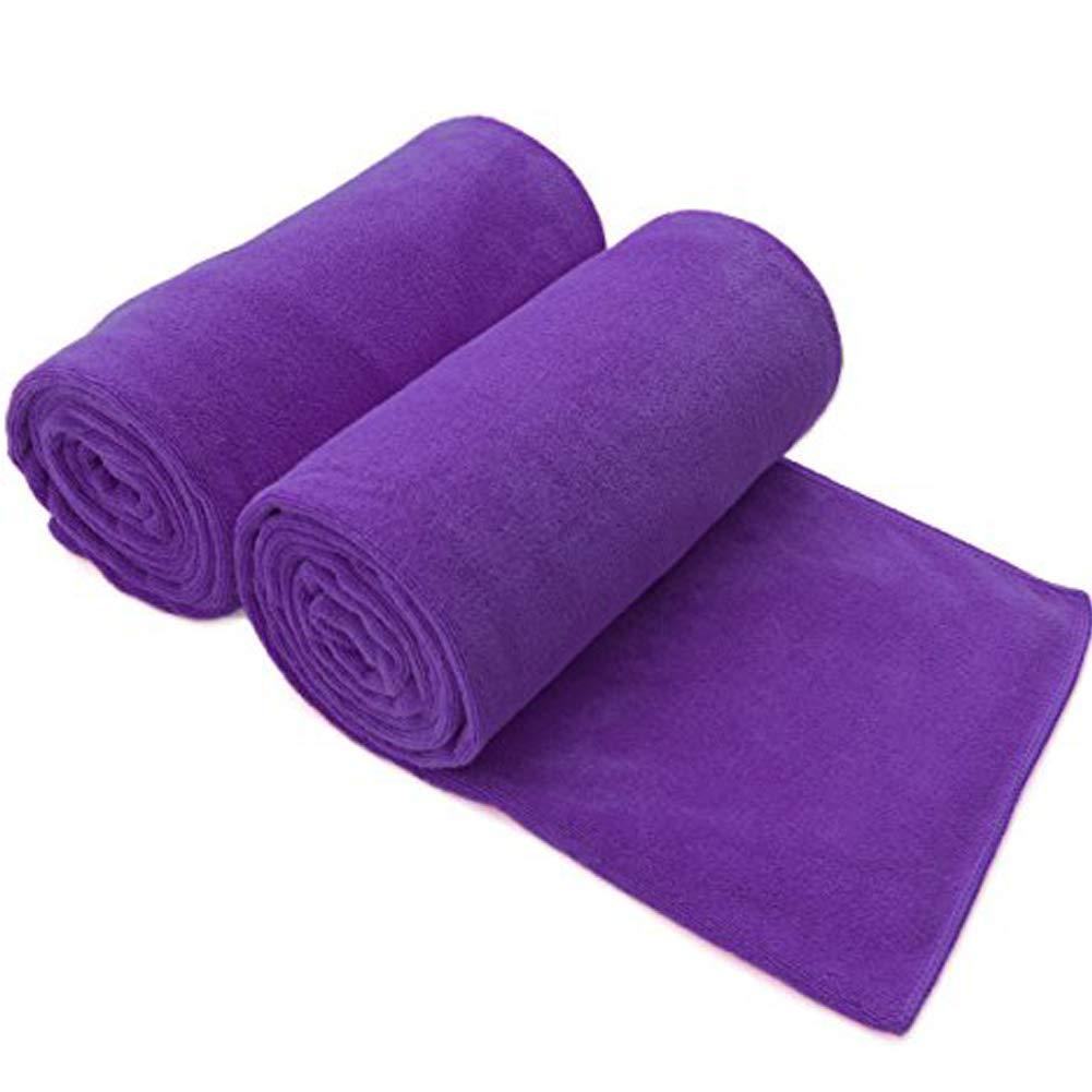 Bath Towels Quick Drying Microfiber Towels Super Absorbent Antibacterial Fitness Towel Purple 2Pack Aszune