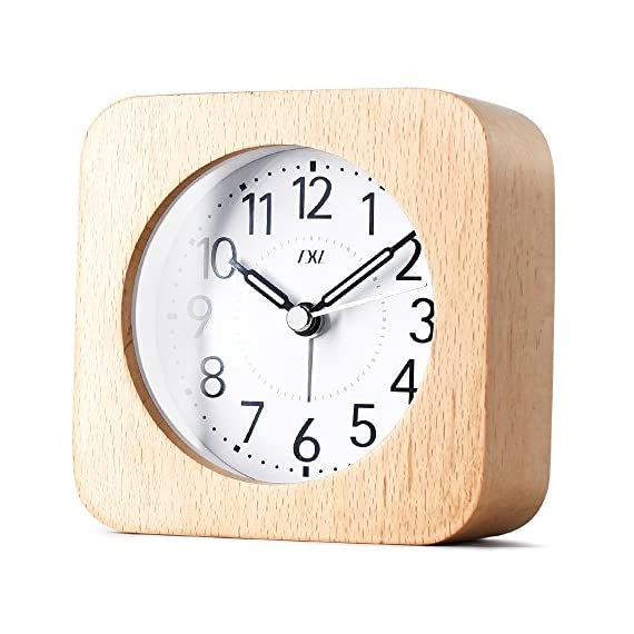 """TXL 5.5"""" Wood Alarm Clock Digital Battery Operated Silent Desk Clock Snooze and Light Function, Beep Sounds, Gentle Wake, Ascending Alarm, Easy Set Kids Bedside Mute Beech Clock for Office/Seniors - Hand made by healthy natural beech wood alarm clock for office/bedroom/kitchen, perfect as a present and bring your family a low-carbon life. Clear and comfortable visual sense with soft backlight for easily exact time reading at night. Super-quality Quartz Sweep Movement guarantees accurate time and absolutely silent sleep and best working environment. - clocks, bedroom-decor, bedroom - 515Mr8eIU3L. SS570  -"""