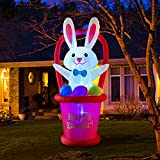 HOOJO 7 Ft Easter Inflatables Bunny with Basket and Eggs Decorations - Blow up Party Decor for Indoor Outdoor Yard with Color Changing LED Lights