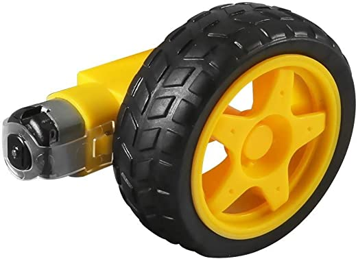 1//2 NO LOGO WJN-Motor 4PC Motore Elettrico a Corrente Continua con plastica Macchinina Pneumatico Ruota 3-6V Doppio Albero innestato TT Cambio del Motore Magnetico Taglia : 1 x Motor 1 x Wheel