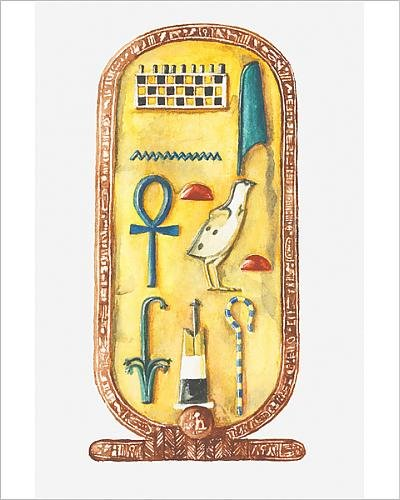 Media Storehouse 10x8 Print of Illustration of cartouche Box from Tutankhamun s Tomb (Cartouche Box)