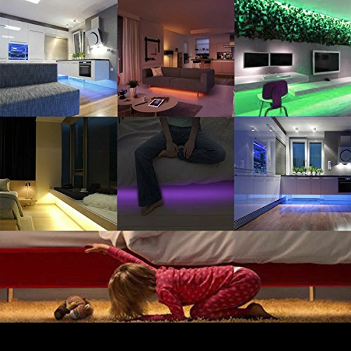 LEHOU Under Bed Light Motion Activated Illumination RGB Color Include Warm Color Automatic Staircase Lighting LED Strip Sensor Night Light Bathroom,Wardrobe,Kitchen - 1.5m/4.9ft x 2 by LEHOU (Image #5)'