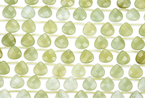2 Strands 15 Inch Natural Serpentine (AKA New Jade) Faceted Pear Shaped Gemstone Beads 13x13 mm ()