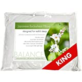 "Balance Living Buckwheat Pillow KING Size 20""x36"" 100% Organic Cotton Cover"