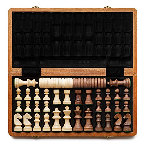 "A&A 15"" Folding Wooden Chess & Checkers Set w/..."