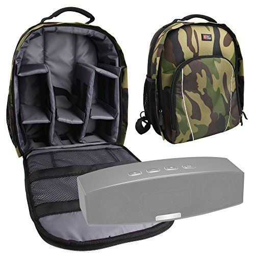 DURAGADGET Camouflage Backpack with Customizable Interior & Raincover for NEW Anker A3143 Stereo Wireless Bluetooth 4.0 Speaker/Anker Classic Portable Wireless Bluetooth Speaker AK-99ANSP9901-BSA by DURAGADGET