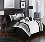 Chic Home 10 Piece Clayton Pintuck Pieced Color Block Embroidery King Bed In a Bag Comforter Set Grey With sheet set