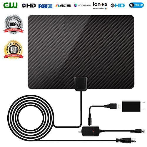 HDTV Antenna 2018 Newest Version Ultra-Thin Amplified Digital TV Aerial Antenna High-Definition for Indoor with 16.5FT Coaxial Cable for Digital Freeview and Analog TV (Analog Hdtv Tv)