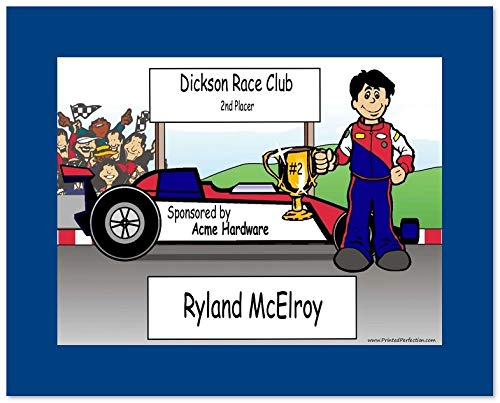 (Personalized Friendly Folks Cartoon Print w/Mat - Ready to Frame Racecar Driver Male Gift, Race car Lover)