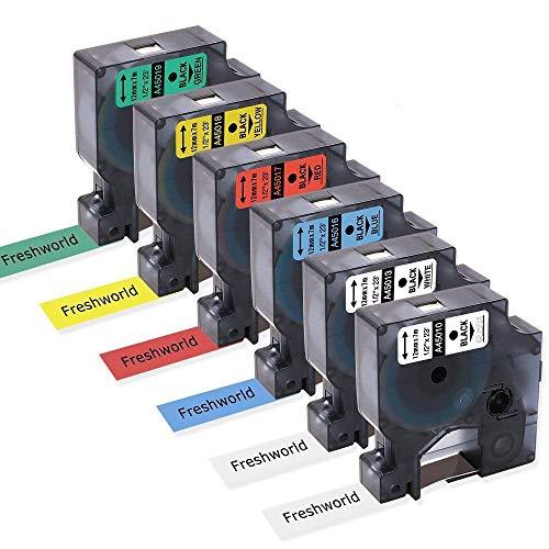 Compatible DYMO D1 Label Tapes 12mm 1/2Inch Cassette Refill 45010 (S045720500) 45013 45016 45017 45018 45019, 23Feet(7m), Color Combo Set for DYMO LabelManager 160 280 420P PnP 220P 360D 450 210D, 6P