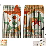 Jinguizi 80th Birthday Room/Bedroom, 80 Years Old Party with Universal Happy Birthday Best Wish Decorative Darkening Curtains Green and Pale Vermilion W55 x L39