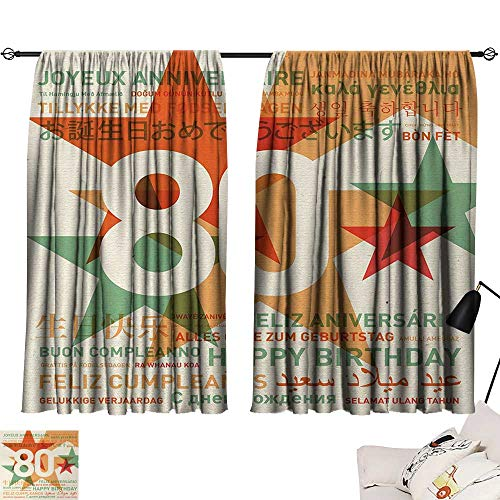 Jinguizi 80th Birthday Room/Bedroom, 80 Years Old Party with Universal Happy Birthday Best Wish Decorative Darkening Curtains Green and Pale Vermilion W55 x L39 by Jinguizi (Image #6)
