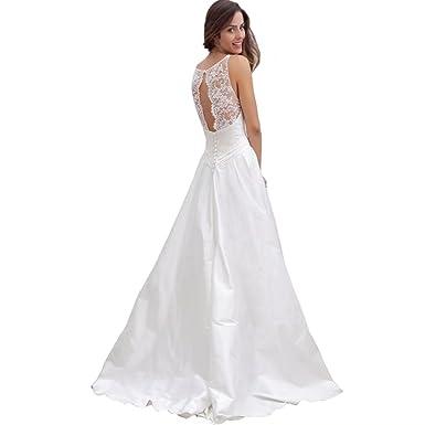 DingDingMail Scoop-Neck Satin Beach Wedding Dresses for Bridal 2018 ...