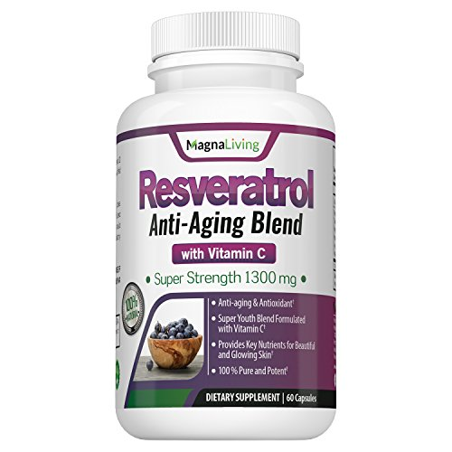 Resveratrol 1300 Mg Veggie Capsules - Maximum Strength Anti Oxidant amp Natural Anti Aging Supplement with Vitamin C - Boosts Immune amp Cardiovascular System So You Look and Feel Great Discount