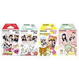 Fujifilm Instax Mini Film 4 Pack Bundle! Disney MICKEY & Friends, Pooh, RiLakkuma, Little Twin Stars 10 X 4 = 40 Sheets Assort Set +  Photo Frame Stickers 20 pcs