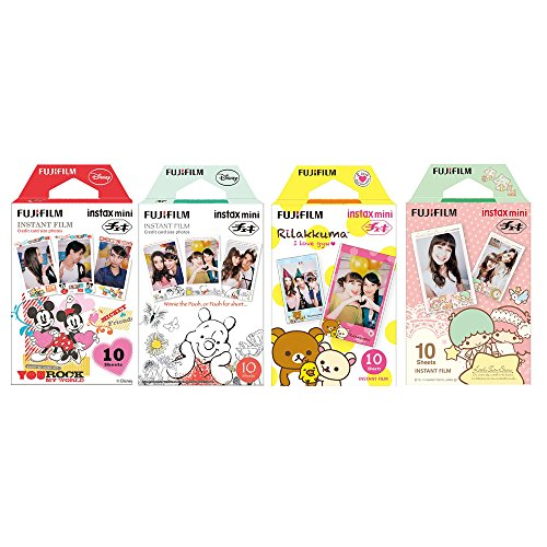 Fujifilm Instax Mini Film 4 Pack Bundle! Disney MICKEY & Friends, Pooh, RiLakkuma, Little Twin Stars 10 X 4 = 40 Sheets Assort Set +  Photo Frame Stickers 20 pcs by Fujifilm