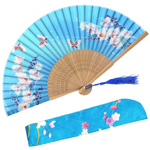 OMyTea Hand Held Silk Folding Fans with Bamboo Frame - with a Fabric Sleeve for Protection for Gifts - 100% Handmade Oriental Chinese/Japanese Vintage Retro Style - for Women Ladys Girls (WZS-33)